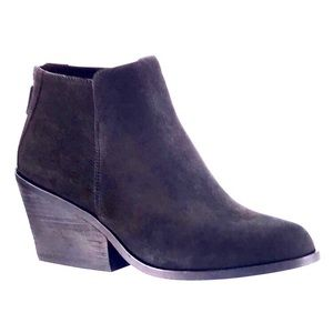 EILEEN FISHER Nubuck Block Heel Booties Black 9